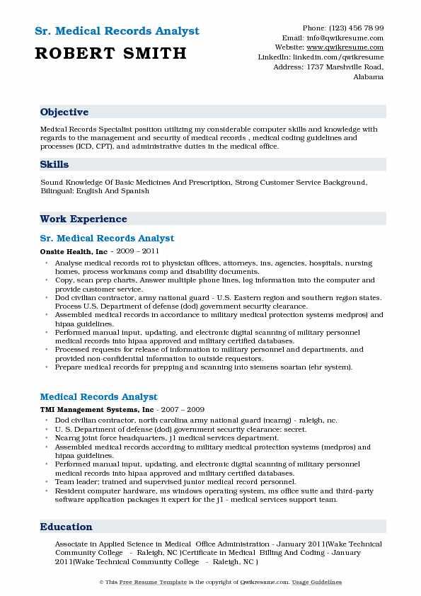 medical records resume sample