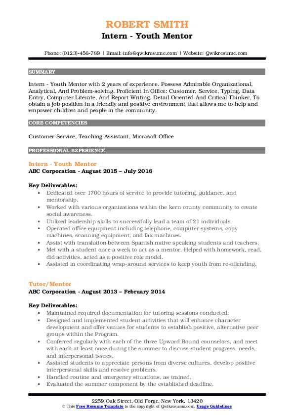 sample resume for youth mentor