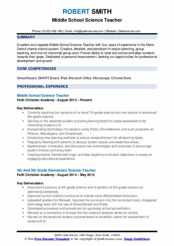resume examples 8th grade