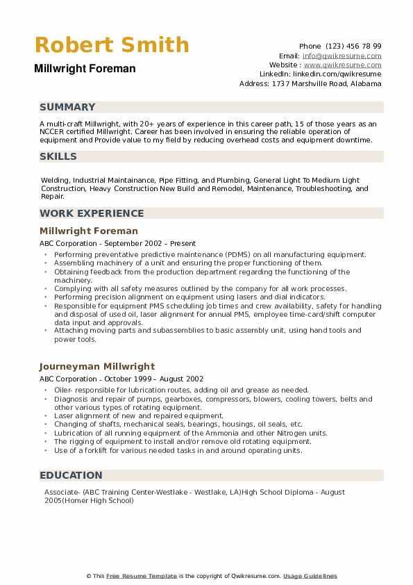 millwright apprenticeship resume sample