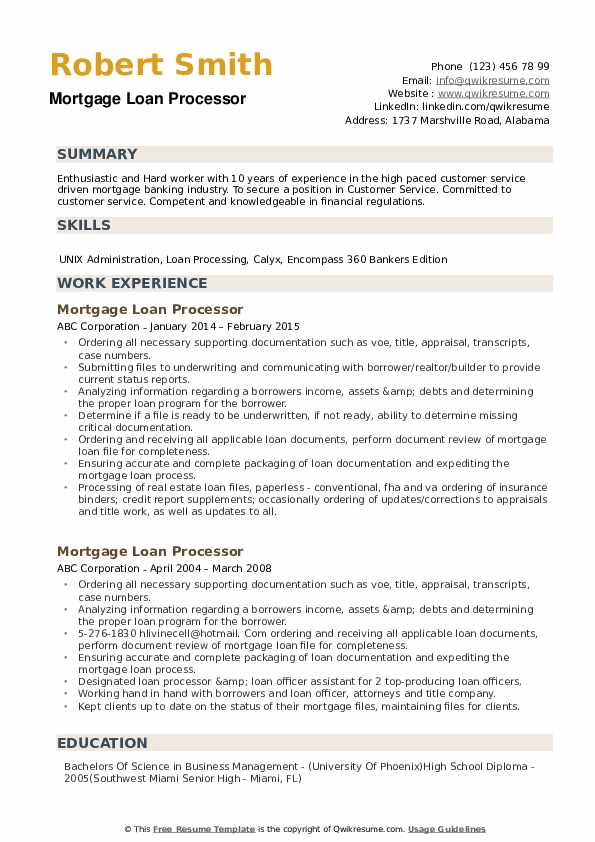 resume objective examples for mortgage processor