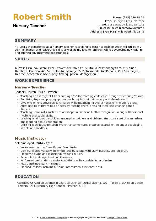 nursery teacher sample resume
