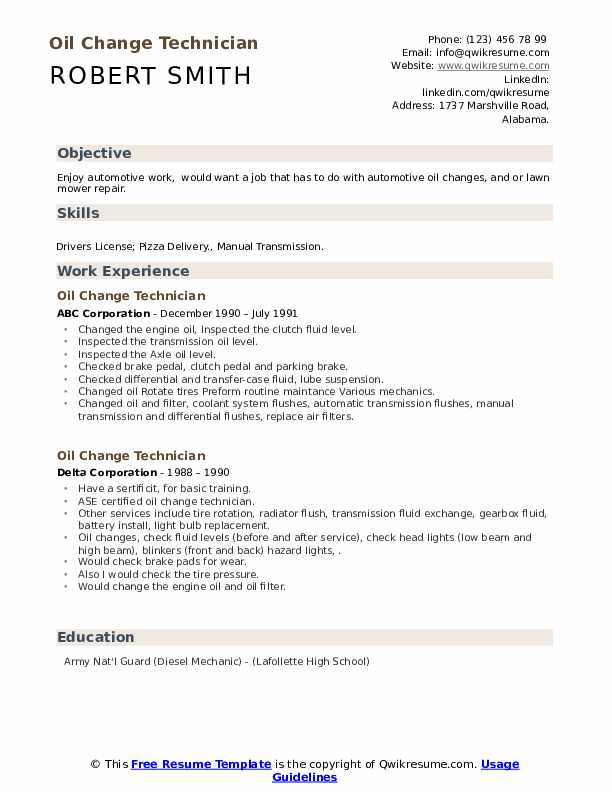 An inadvertent or intentional omission isn't the end of the world and it certainly won't keep yo. Oil Change Technician Resume Samples Qwikresume