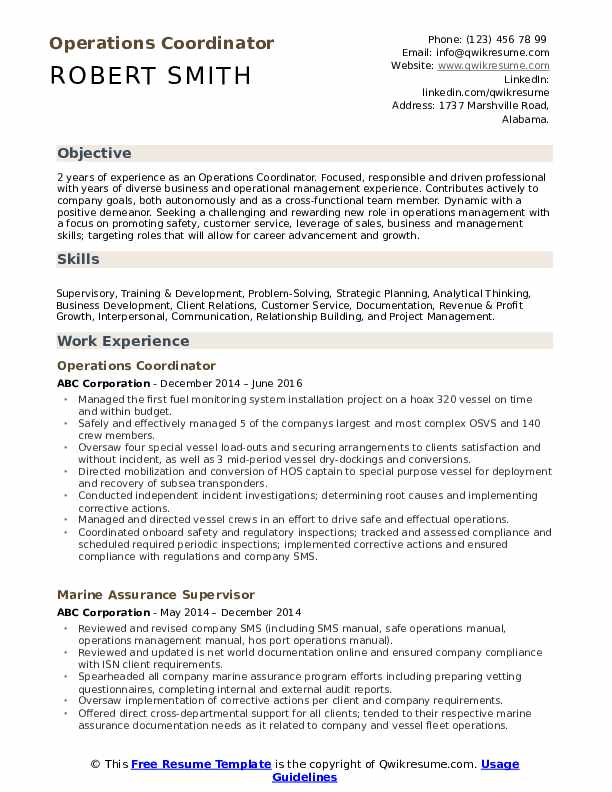 Cover Letter For Operations Coordinator