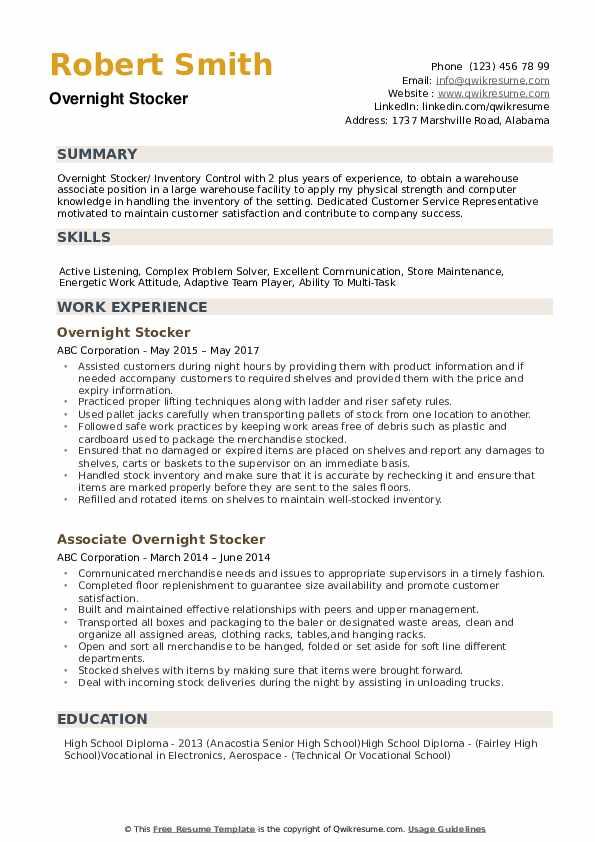 night stocker summary example on resume
