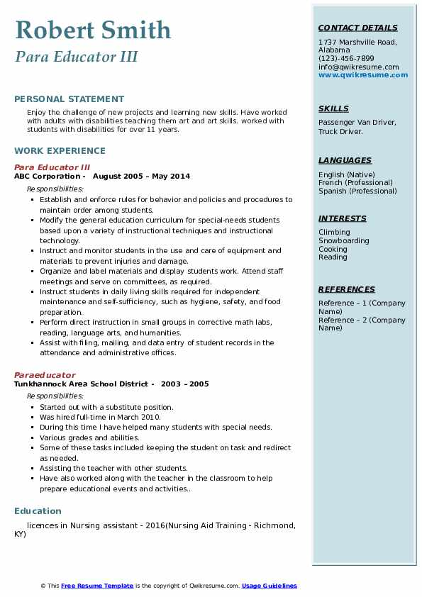 example of resume in special education para educator