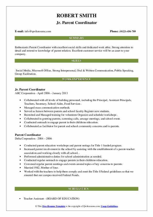school parent coordinator resume example