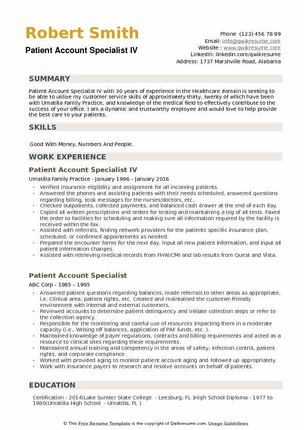 Patient Account Specialist Resume Samples QwikResume