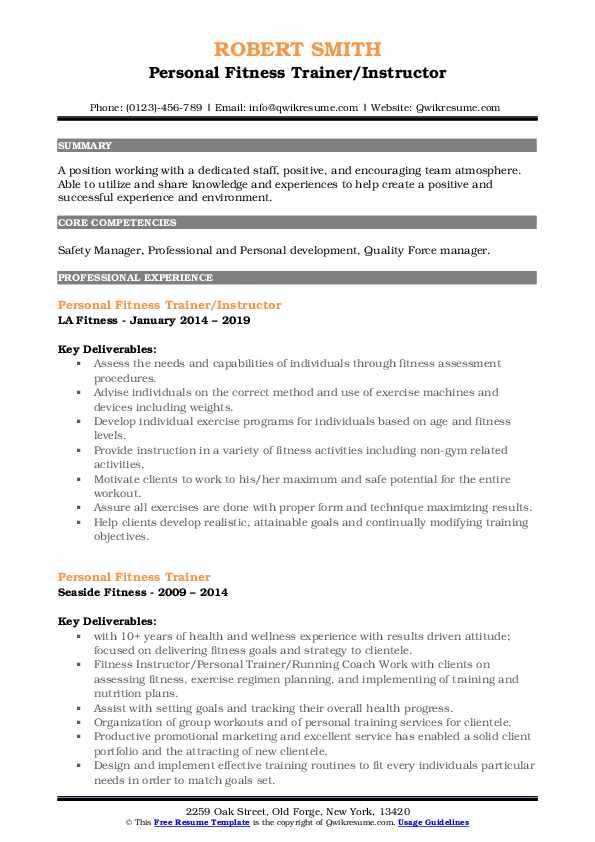 La Fitness Cancellation Form Pdf 2019 : fitness, cancellation, Personal, Fitness, Trainer, Resume, Samples, QwikResume