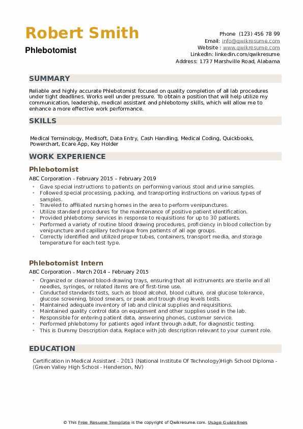 phlebotomy resumes  resume sample