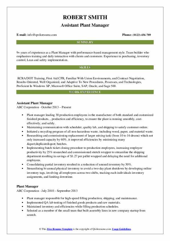 plant manager resume