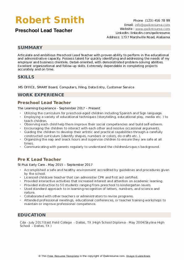 resume preschool teacher