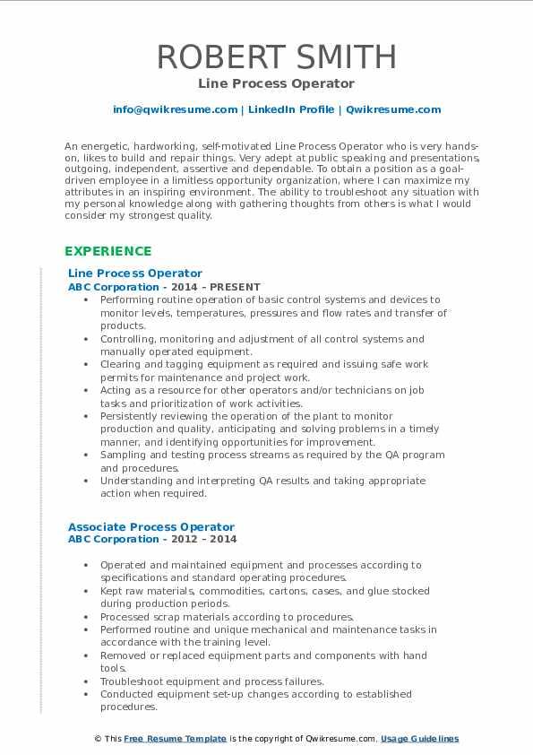 process operator resume summary samples