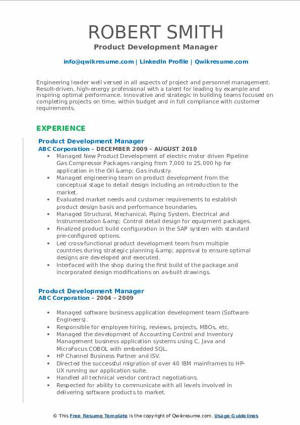 He or she is responsible for hiring, maintaining the talent pipeline, creating employee guidelines and initiation programs, coordinating training, health progr. Product Development Manager Resume Samples Qwikresume