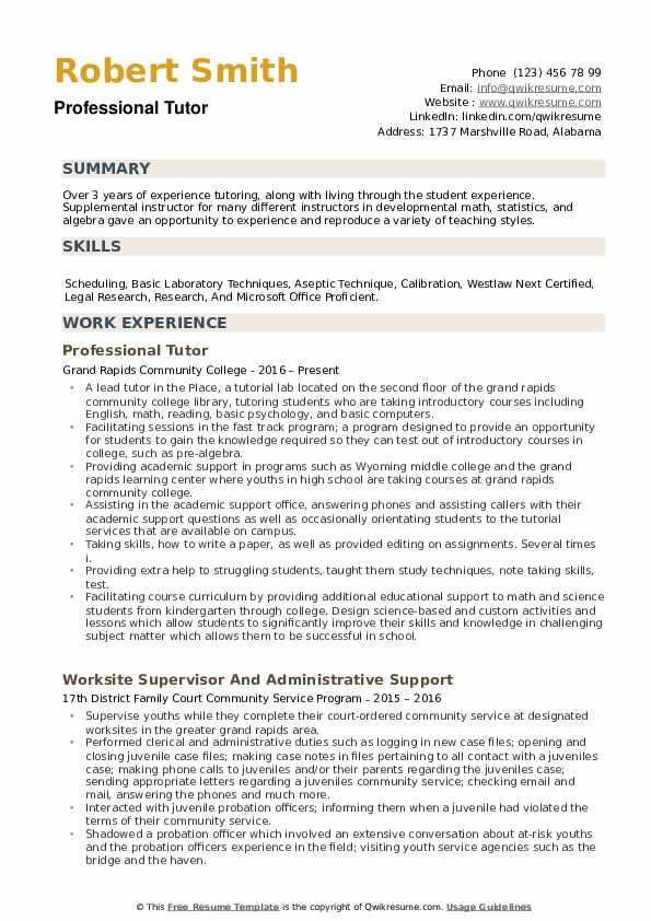 tutor academic mentor resume samples