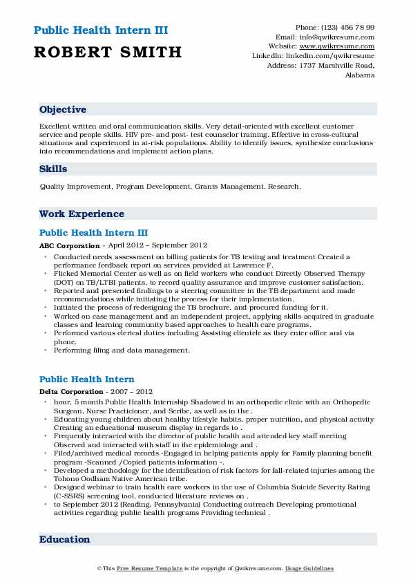 Get the direction you need following industry trends and advice found on our public health officer resume. Public Health Intern Resume Samples Qwikresume