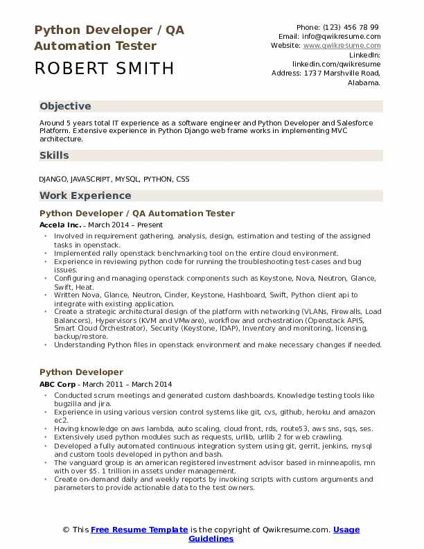 Python Developer Resume Sample | The Best Template