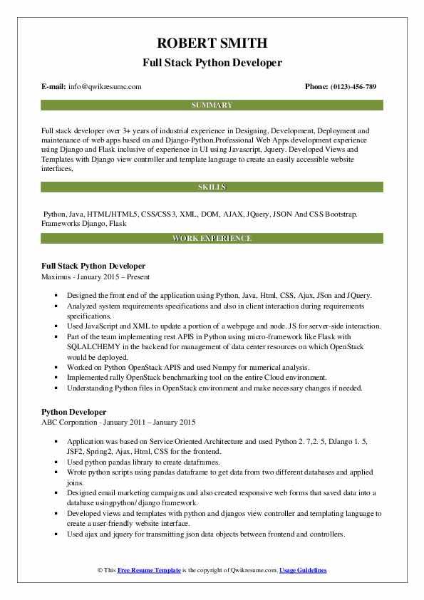 resume template for python developer