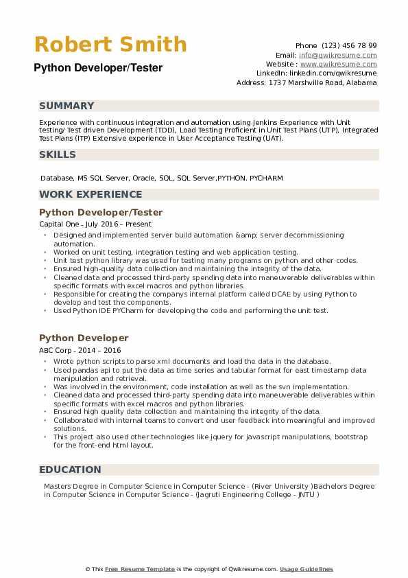 Resume Python Pdf - Resume Examples | Resume Template