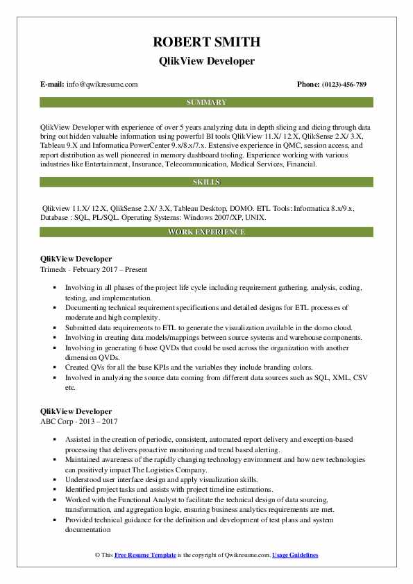 Qlikview Resume Pdf - Resume Examples | Resume Template
