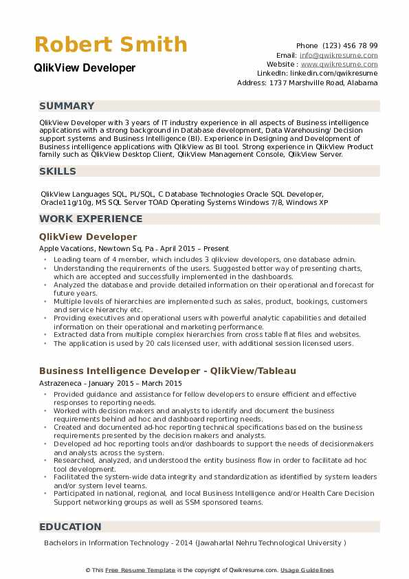 Qlikview Fresher Resume