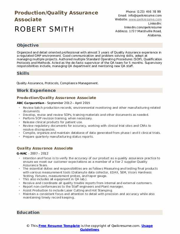 Quality Assurance Associate Resume Samples  QwikResume