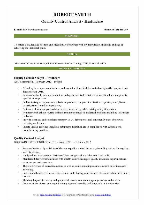 quality control resume sample pdf