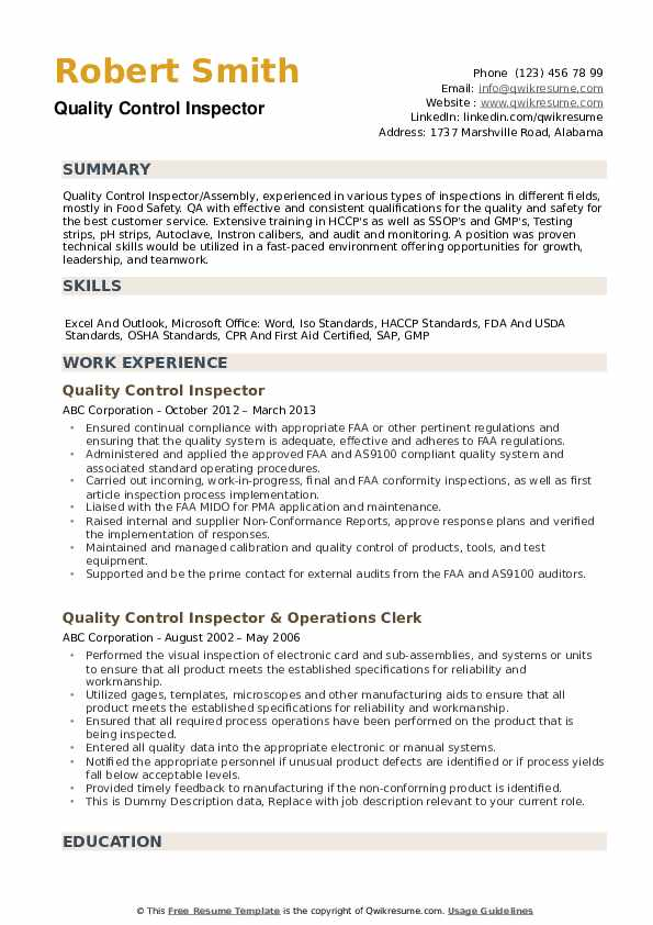 aerospace quality control inspector resume