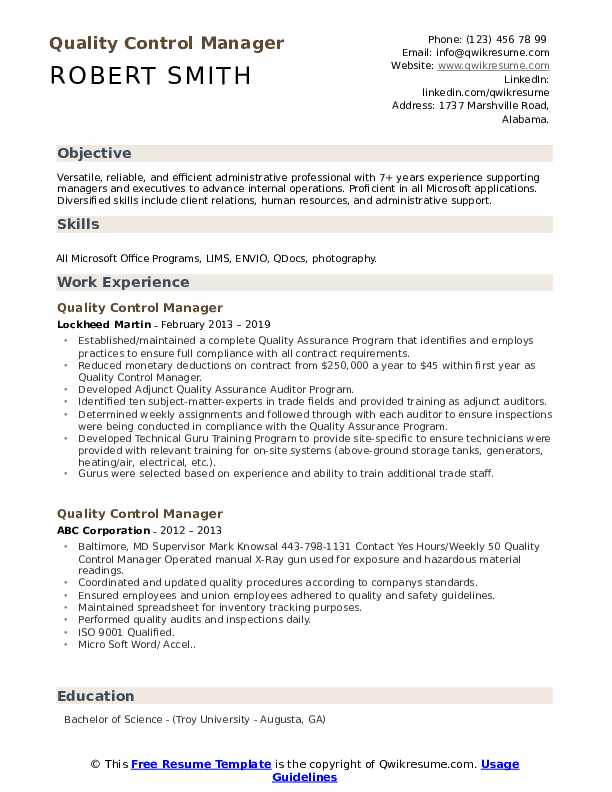 Most of these templates use a grayscale color scheme to create a subdued feel where the focus is on the actual content of the resume. Quality Control Manager Resume Samples Qwikresume