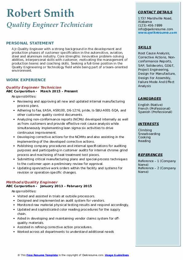 resume headline for quality control engineer