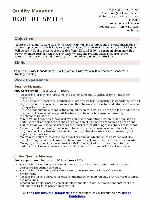 quality manager resume sample pdf