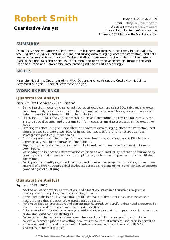 Quantitative Analyst Resume Samples QwikResume