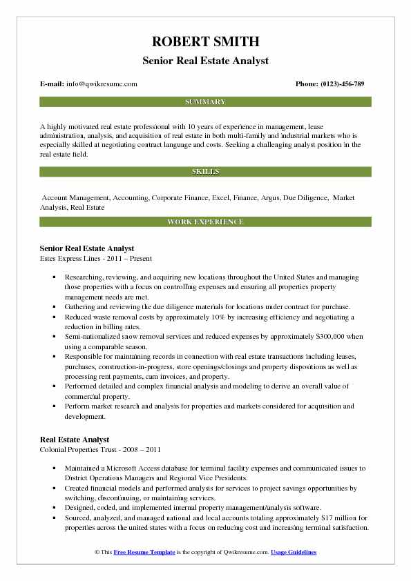 Real Estate Analyst Resume Samples  QwikResume