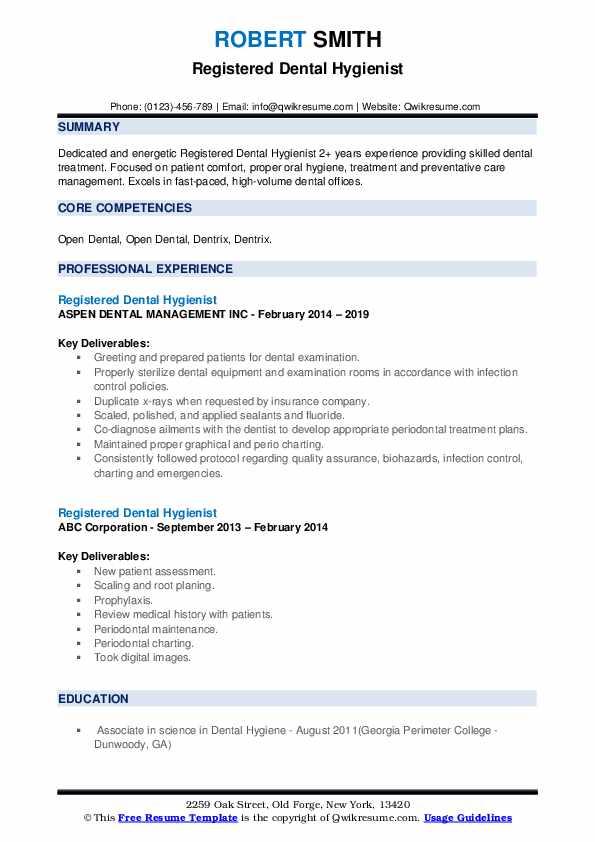 resume for dental hygienist
