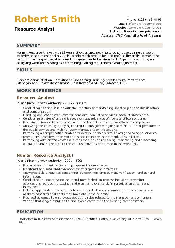 Resource Analyst Resume Samples QwikResume
