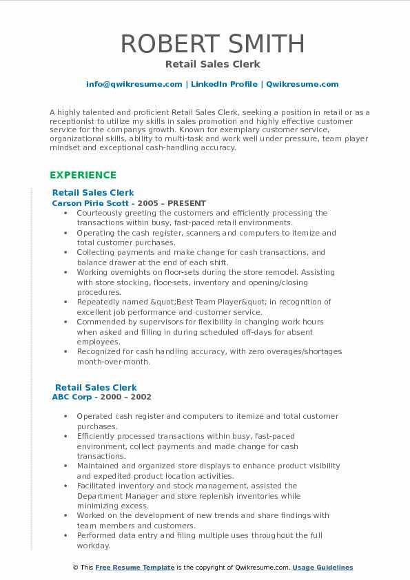 Retail Sales Clerk Resume. corporate and contract law clerk resume ...