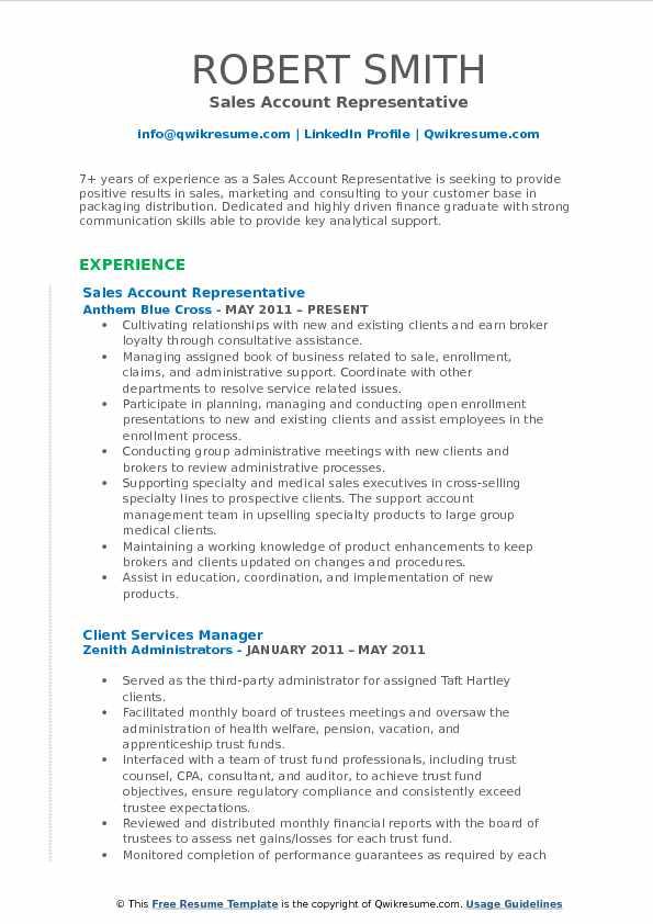 free account executive resume samples