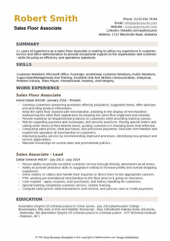 store sales resume samples