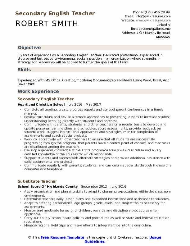 Sample Resume English Teacher