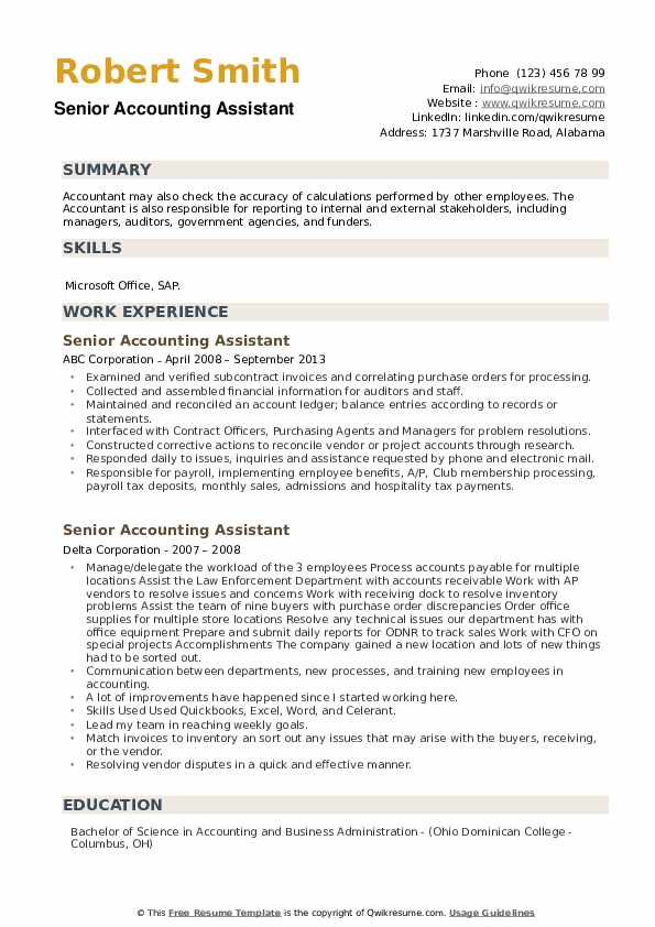 Respectively, as well as gl (general ledger) are accounting functions any professional accountant should. Senior Accounting Assistant Resume Samples   QwikResume