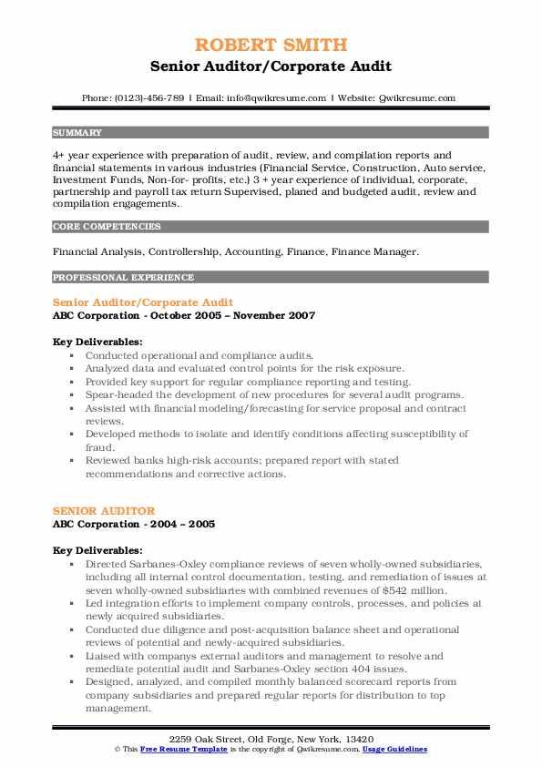 · analyzed monthly balance sheet accounts for. Senior Auditor Resume Samples   QwikResume