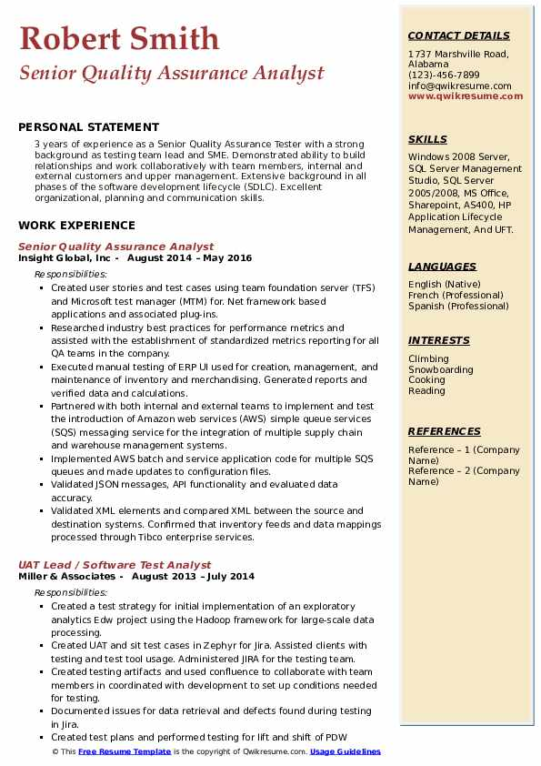 Senior Quality Assurance Analyst Resume Samples QwikResume