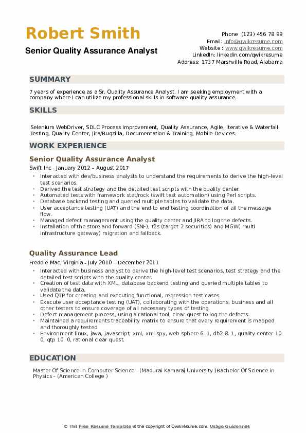 senior quality analyst sample resume