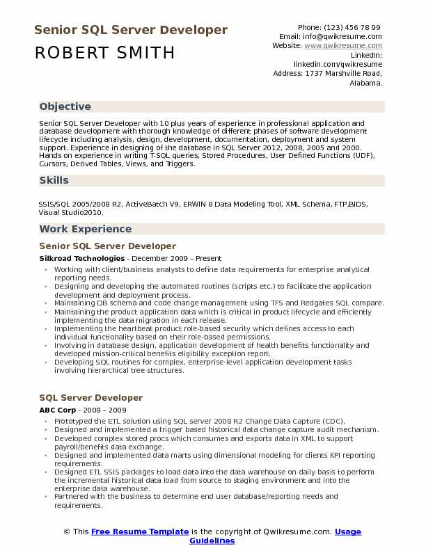 sample resume for sql dba experienced with t sql
