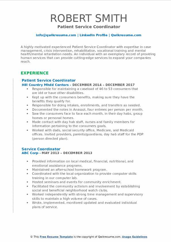 patient service coordinator sample resume