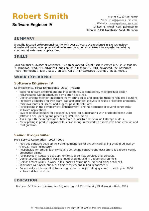 resume of experience software engineer