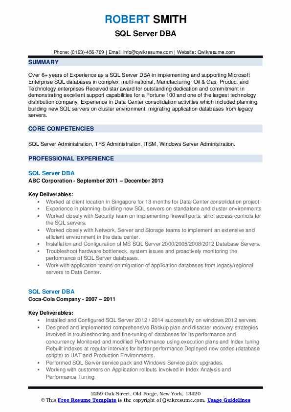 sql dba resume samples