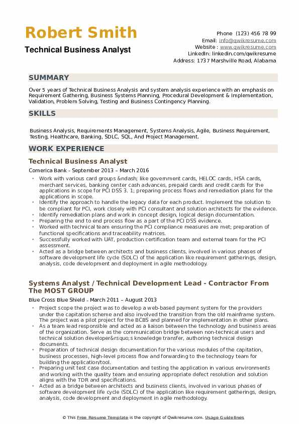 Technical Business Analyst Resume Samples Qwikresume