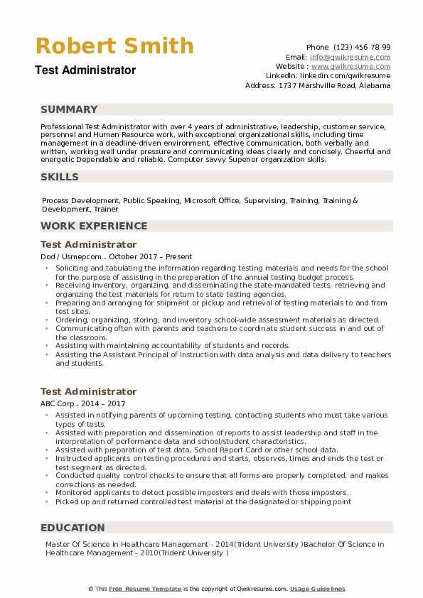 Test Administrator Resume Samples QwikResume