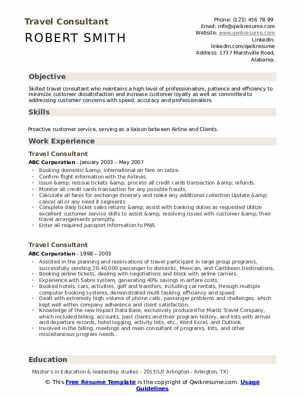 travel consultant resume objective